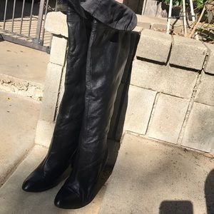 Marc Fisher leather black over the knee boots sz 9